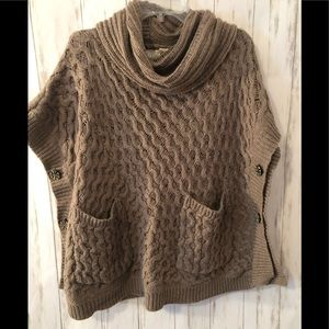 ANGEL OF THE NORTH Bryson Cowl Neck Poncho Sweater
